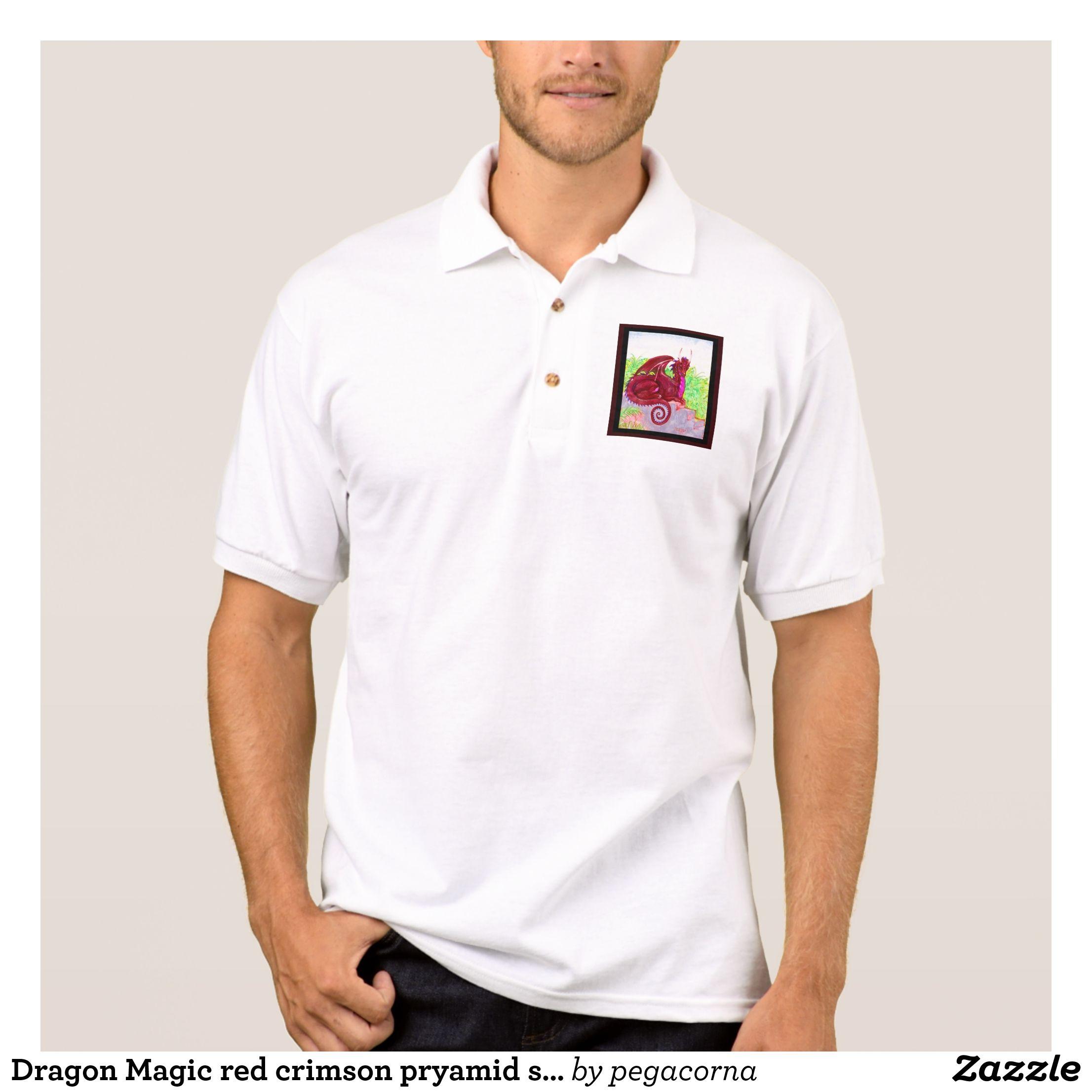 Dragon Magic Red Crimson Pryamid Stone Jungle Polo Shirt Mens