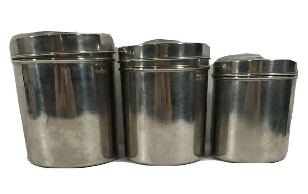 Stainless Steel Canister Set 3 Nesting Airtight Light Blocking Lids Tea Coffee Ebay In 2020 Stainless Steel Canister Set Stainless Steel Canisters Canister Sets