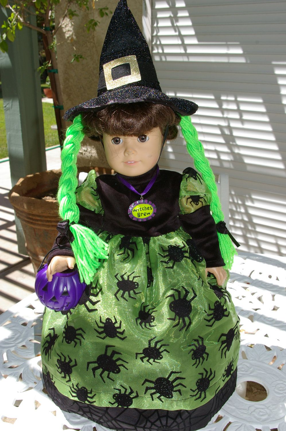 Green Black and Purple Witch Costume for 18 inch doll.. | AG ...