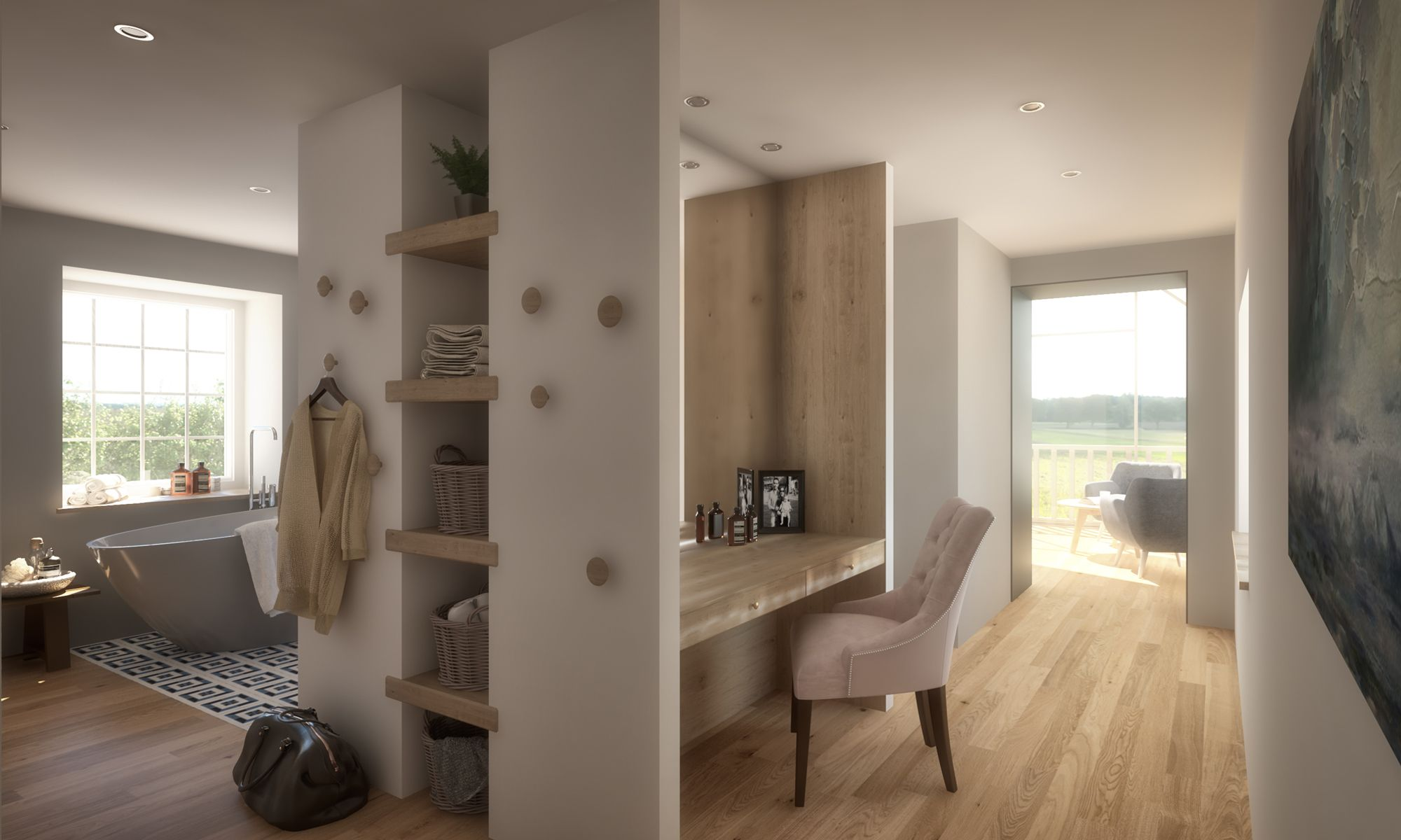 interior design for an open plan master bedroom and ensuite bathroom