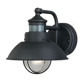 Portfolio Chesapeake 8 3 4 In H Textured Black Motion Activated Outdoor Wall Light Also Has
