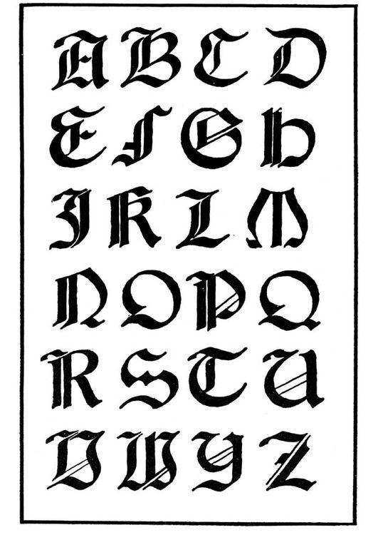 Dibujo Para Colorear Tipo De Letra Gotica Italiana Img 11252 Letras Romanas Letras Para Tatuajes Tipos De Letras