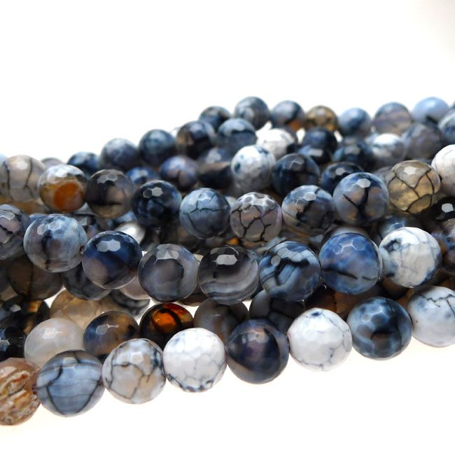 8mm Faceted Round Grey Dragon Vein Fire Agate Beads Full Strand : Benson Beads