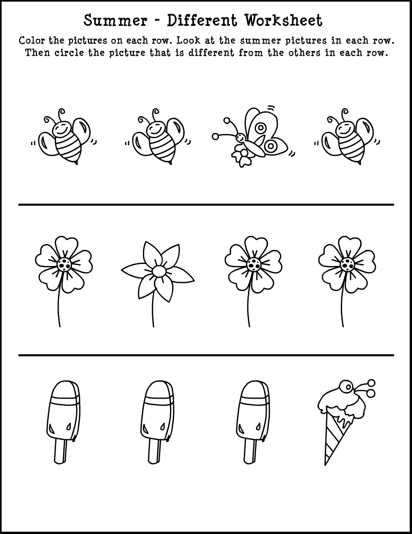 Which one is different summer themed skill worksheet for Summer themed coloring pages