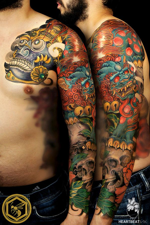 Jess Yen Heartbeatink Gr Foo Dog Tattoo Tattoos Sleeve Tattoos