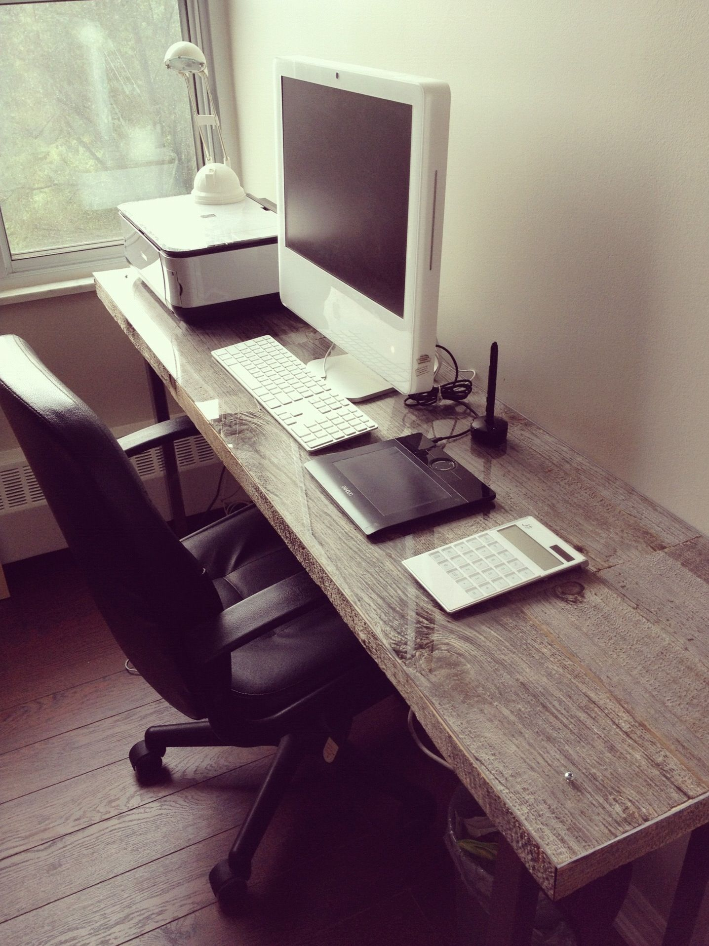 narrow long desk made of reclaimed barn wood; designed by me ...