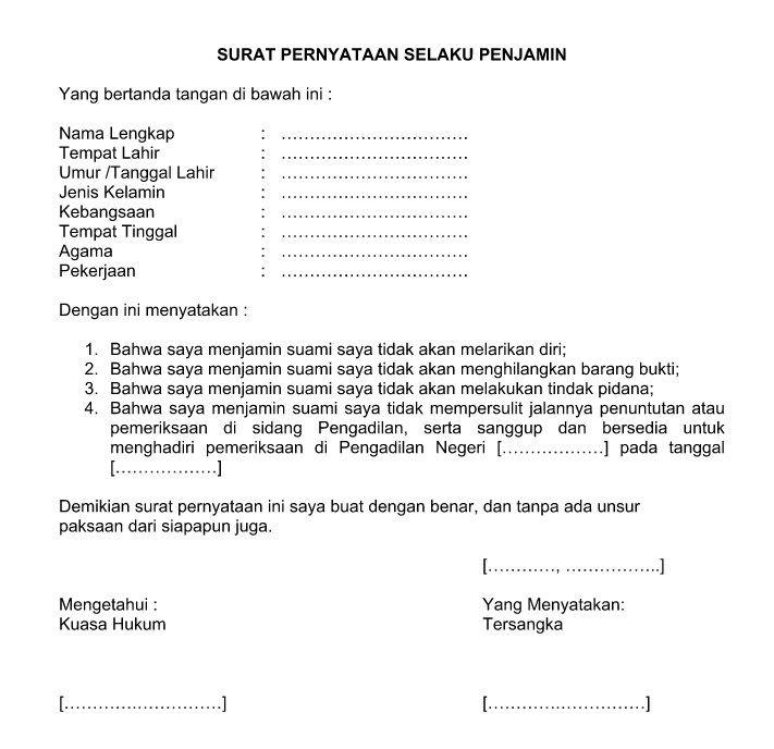 Contoh Surat Pernyataan Jaminan Yang Baik Resmi Dan Benar Format