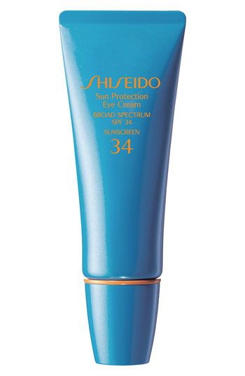 Shiseido Sun Protection Eye Cream Broad Spectrum SPF 34 available at #Nordstrom.  This is the first eye cream I've found with sun protection and I apply it every morning.  No crows feet!