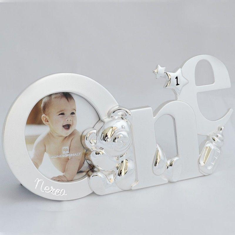 Marco para bebés. Marco de fotos infantil de color plata en forma de ...