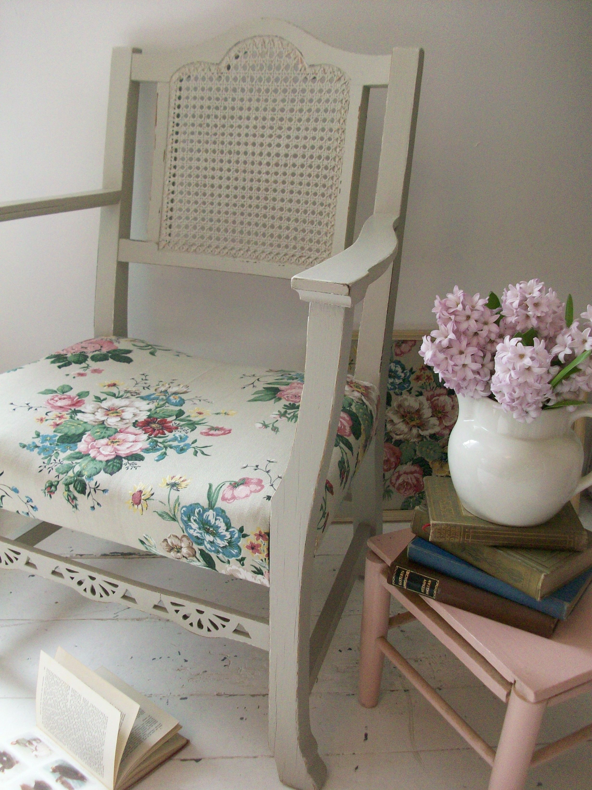 A little chair I upcycled with a coat of paint and some vintage floral linen.