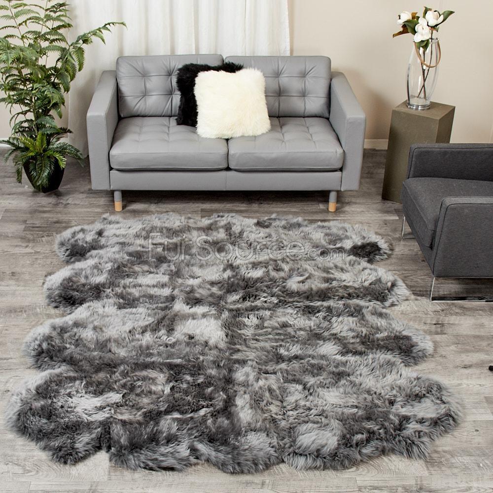 8 Pelt Dover Grey Sheepskin Fur Rug Octo Large Sheepskin Rug