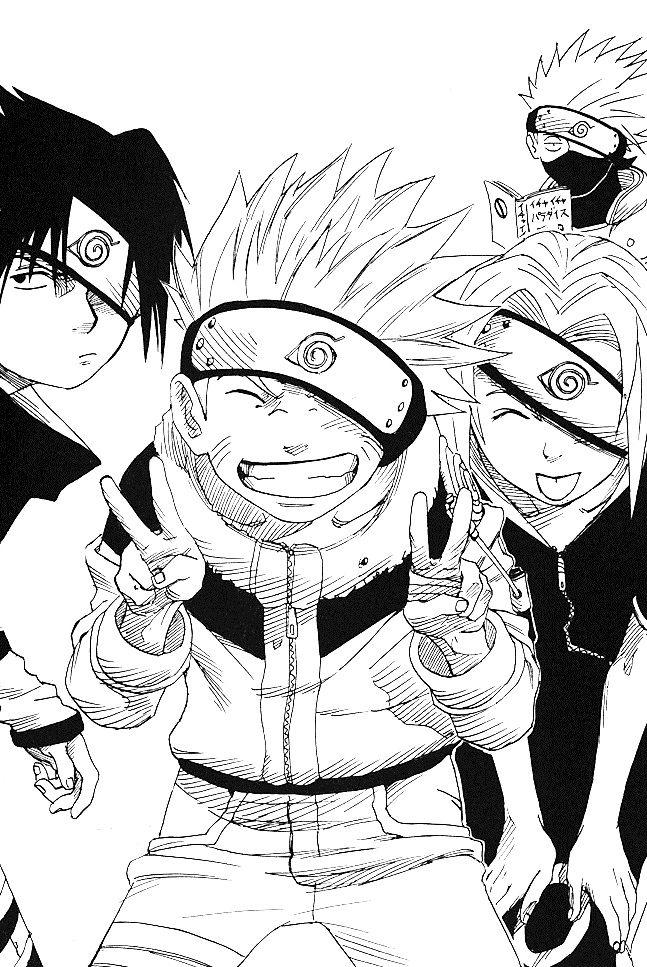 Team 7 Naruto Manga Naruto Sketch Naruto Sasuke Sakura Anime