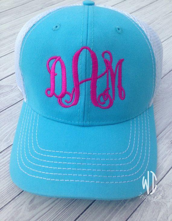 db09af260 Monogrammed Trucker Hat Spring Colors in light blue and hot pink ...