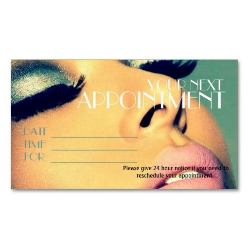 Appointment Card Salon Makeup Artist Cosmetology Business Card - sample appointment card template