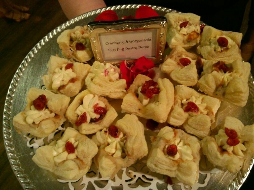 Cranberry gorgonzola puff pastry purses by exclamations catering!