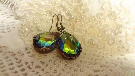 Vintage Rhinestone Earrings Downton Abbey by BerthaLouiseDesigns