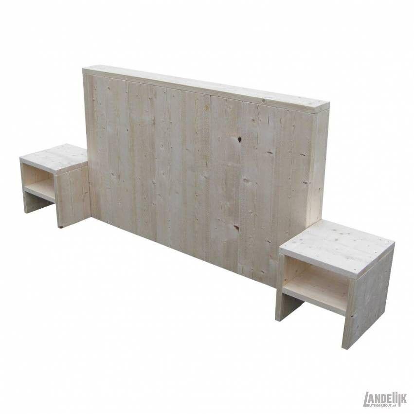Steigerhouten bed hoofdeinde mooi en stoer hoofdbord van nieuw steigerhout met bijvoorbeeld - Nachtkastje voor loftbed ...