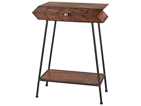 Sterling Arrow Walnut Black 12 Wide Square End Table Rustic End Tables Metal Accent Table Furniture