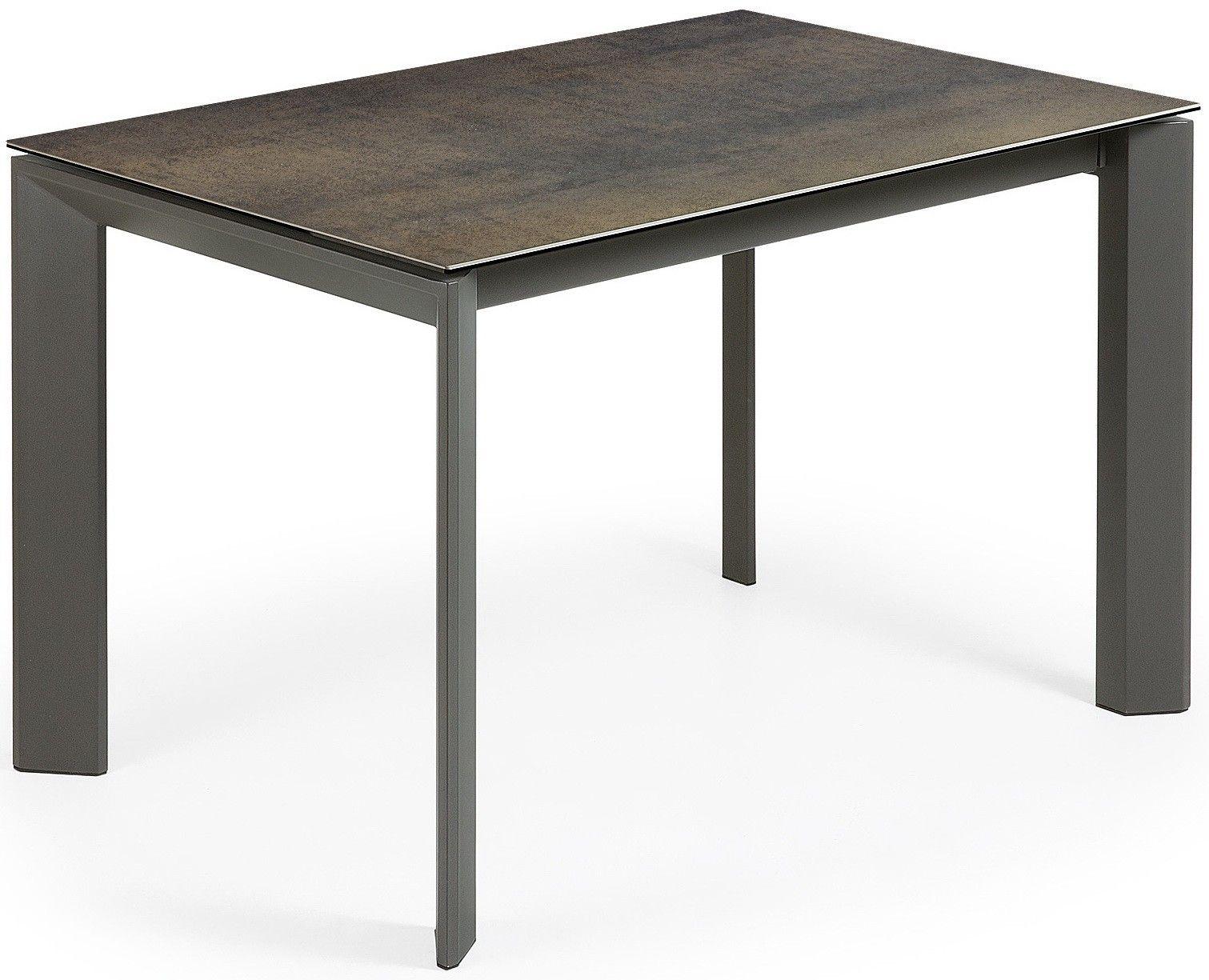 Sobrio e lineare, tavolo allungabile, con un piano in vetro ...