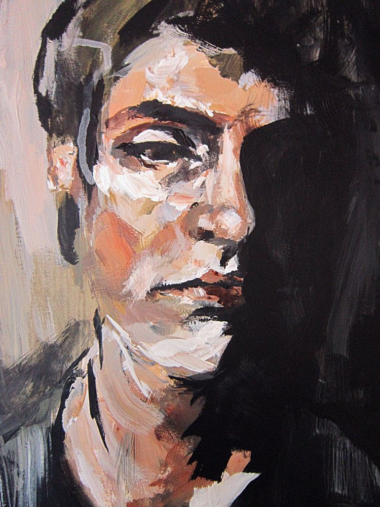 Original Painting, Portrait study 2, In Shadow, Acrylic painting ...