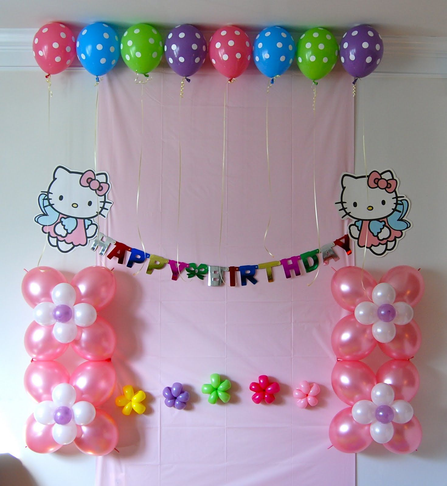 hello kitty birthday party ideas for girls tape balloons to ceiling