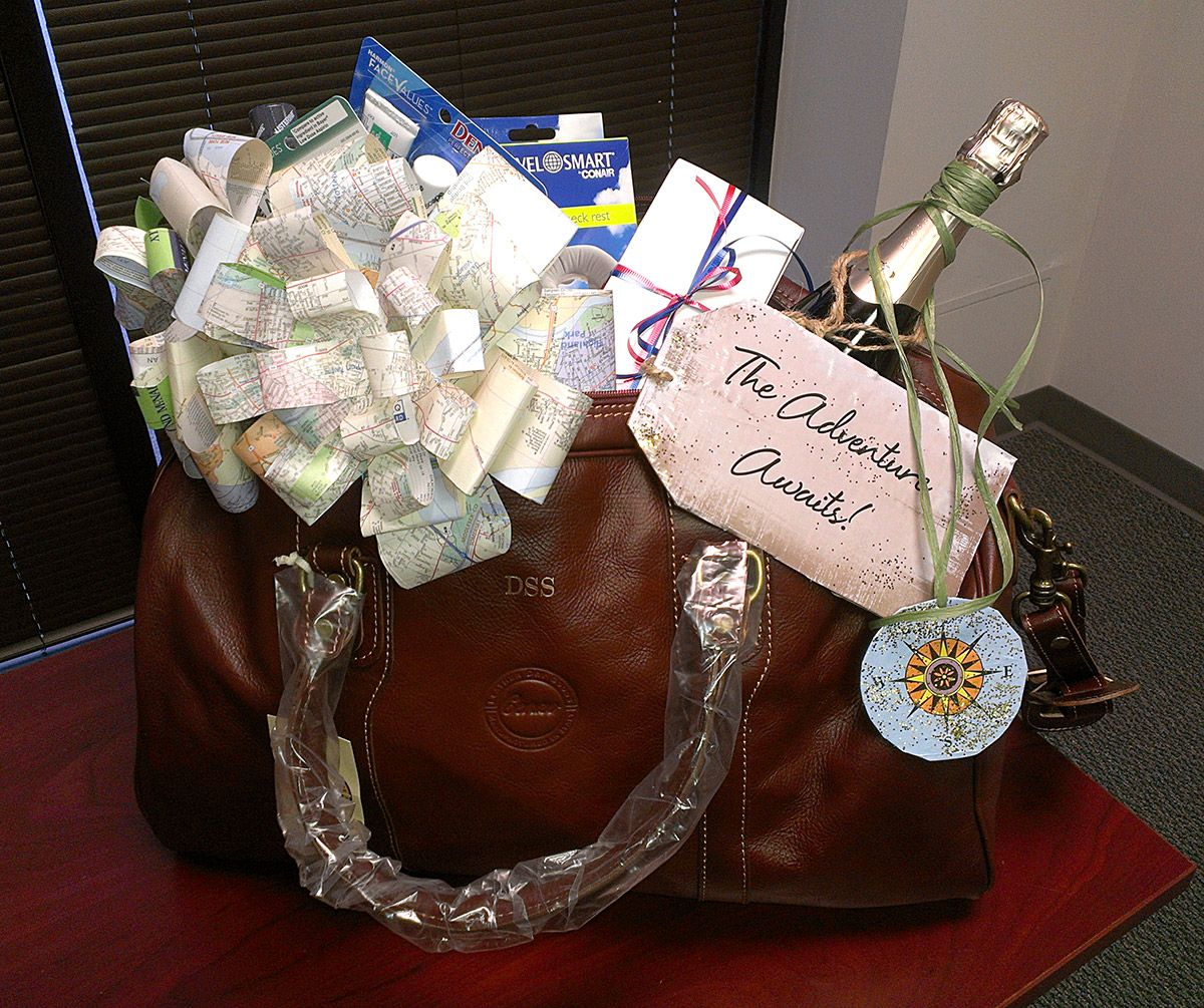 Gift basket for retirement filled with champagne