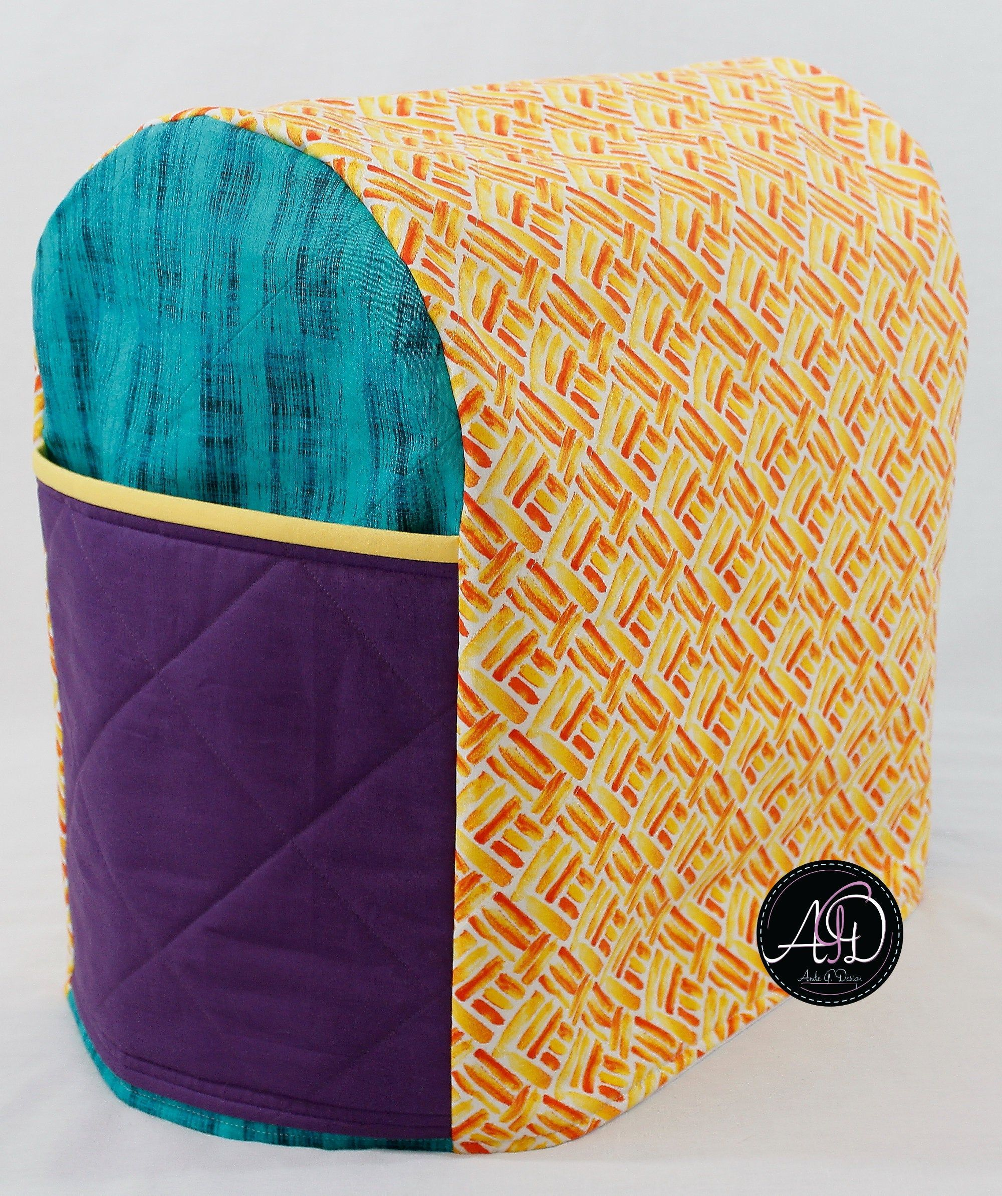 Quilted Yellow And Orange Stand Mixer Cover Mixer Cover