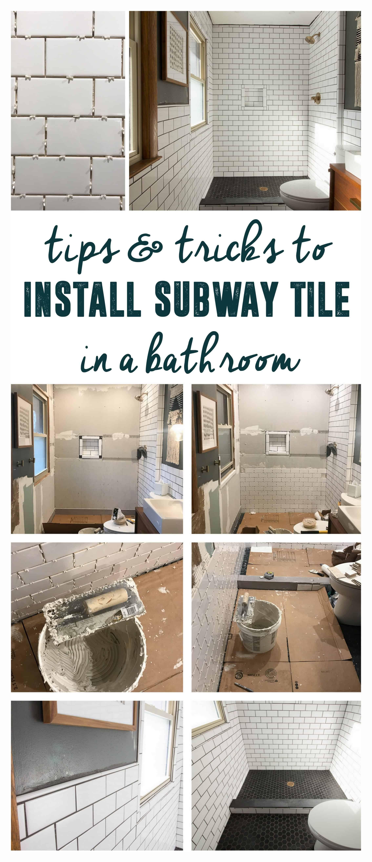 Our Modern Subway Tile Bathroom | Subway tiles, Modern master ...