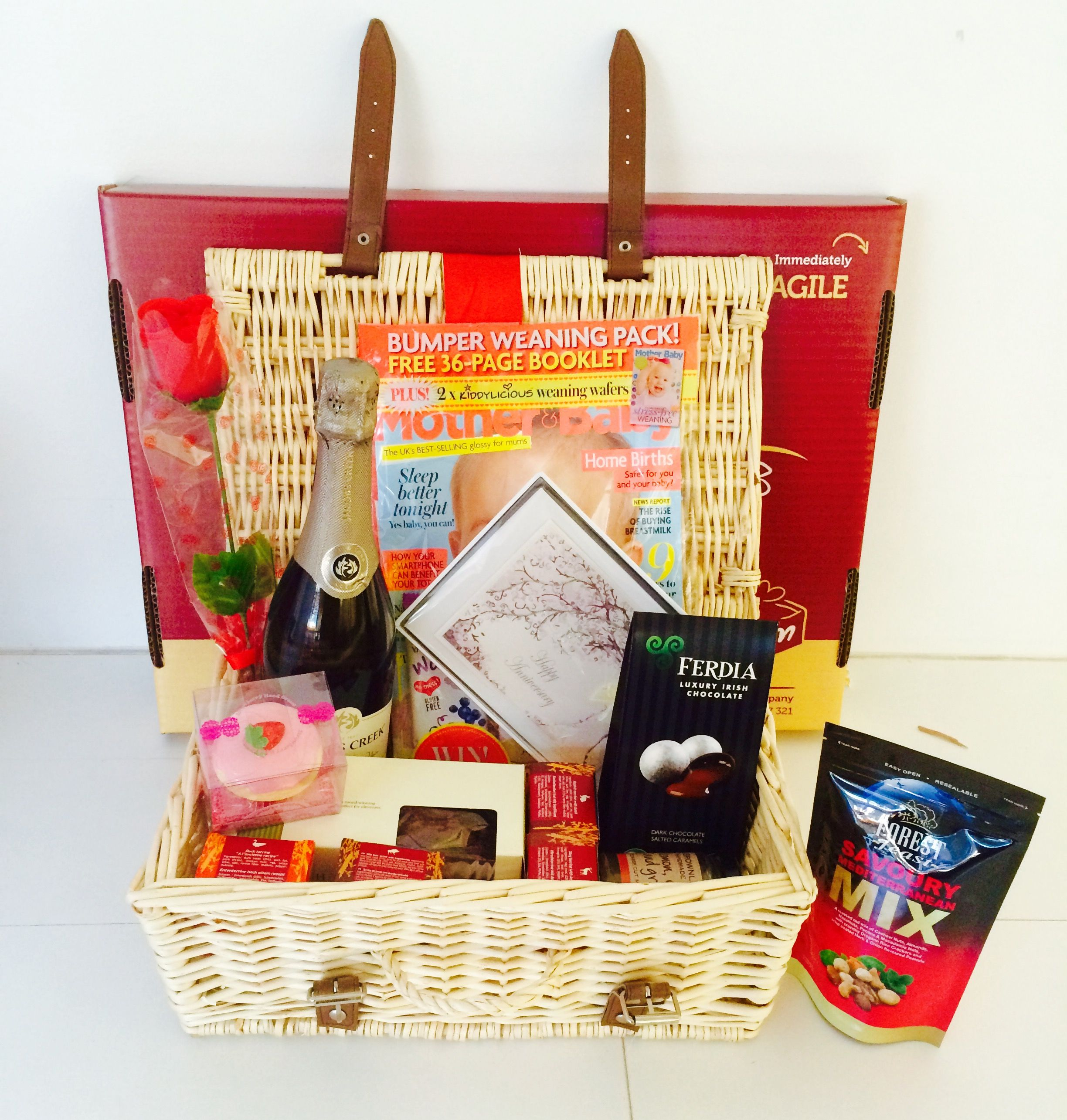 Anniversary gift hamper created by a husband for his