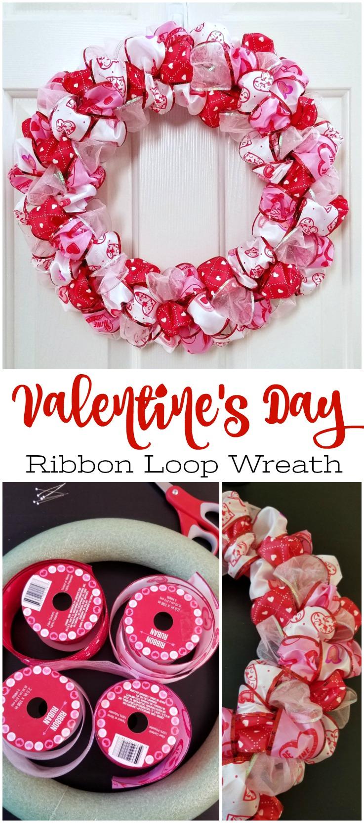 Photo of Valentinstag Ribbon Loop Kranz – einfache DIY Kranz Handwerk  Pinterest langen S…