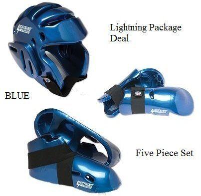 BLUE New Karate Sparring Gear set Macho Dyna Headgear Kick Punch Taekwondo MMA
