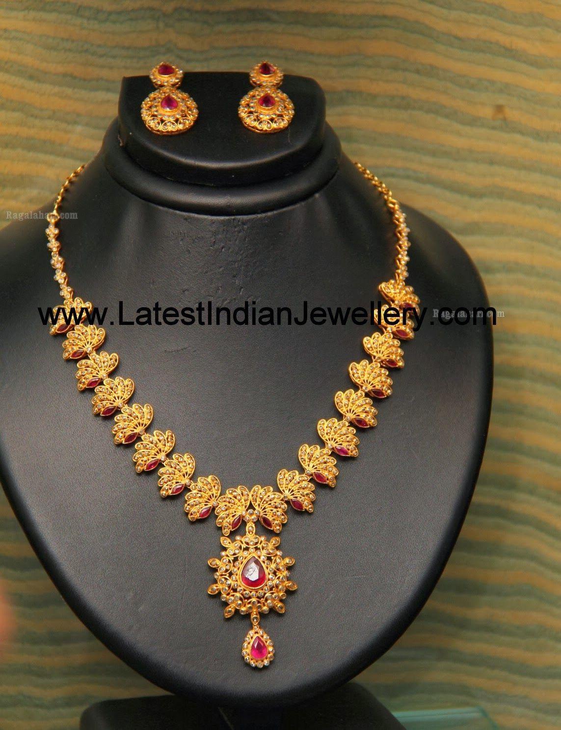 Gold necklace designs in grt jewellers - Designer Uncut Diamond Necklace In Lotus Design