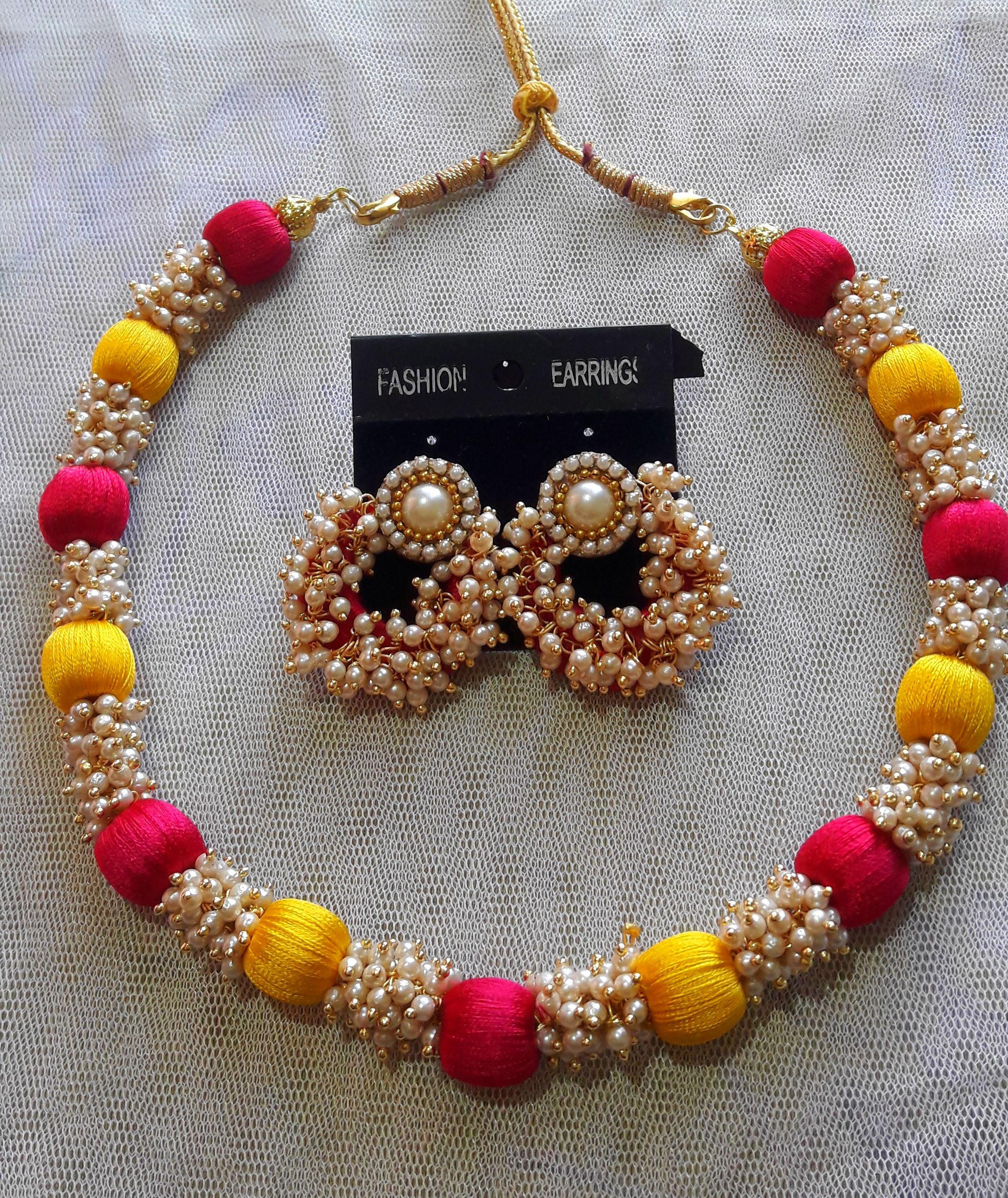 fed42fda29 #Handmade #Pink, #yellow #silk #thread and #loreal #pearls necklace set. -  #prasadsilkthreadjewellery