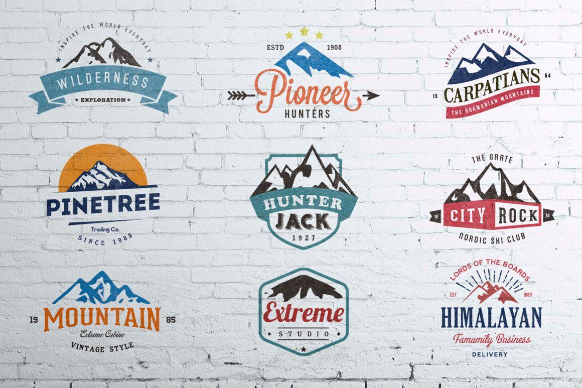 Mountain Vintage Badges Color Vintage Graphic Design Mountain Logos Logo Design