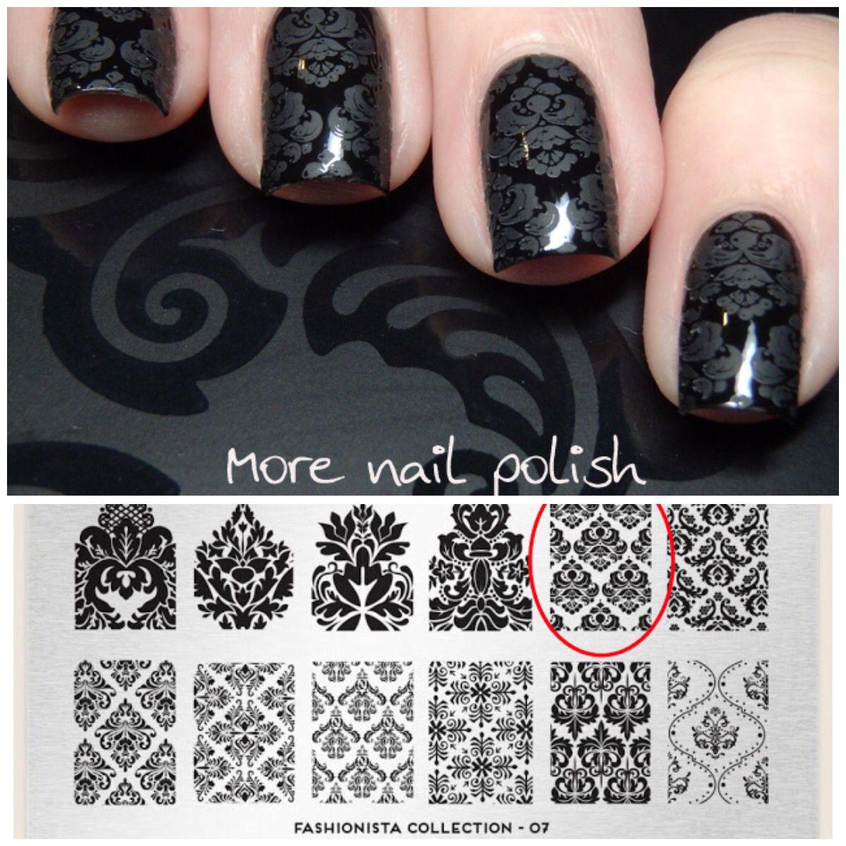 Black Damask Nail Art by @morenailpolish - stamp plate: moyou London ...