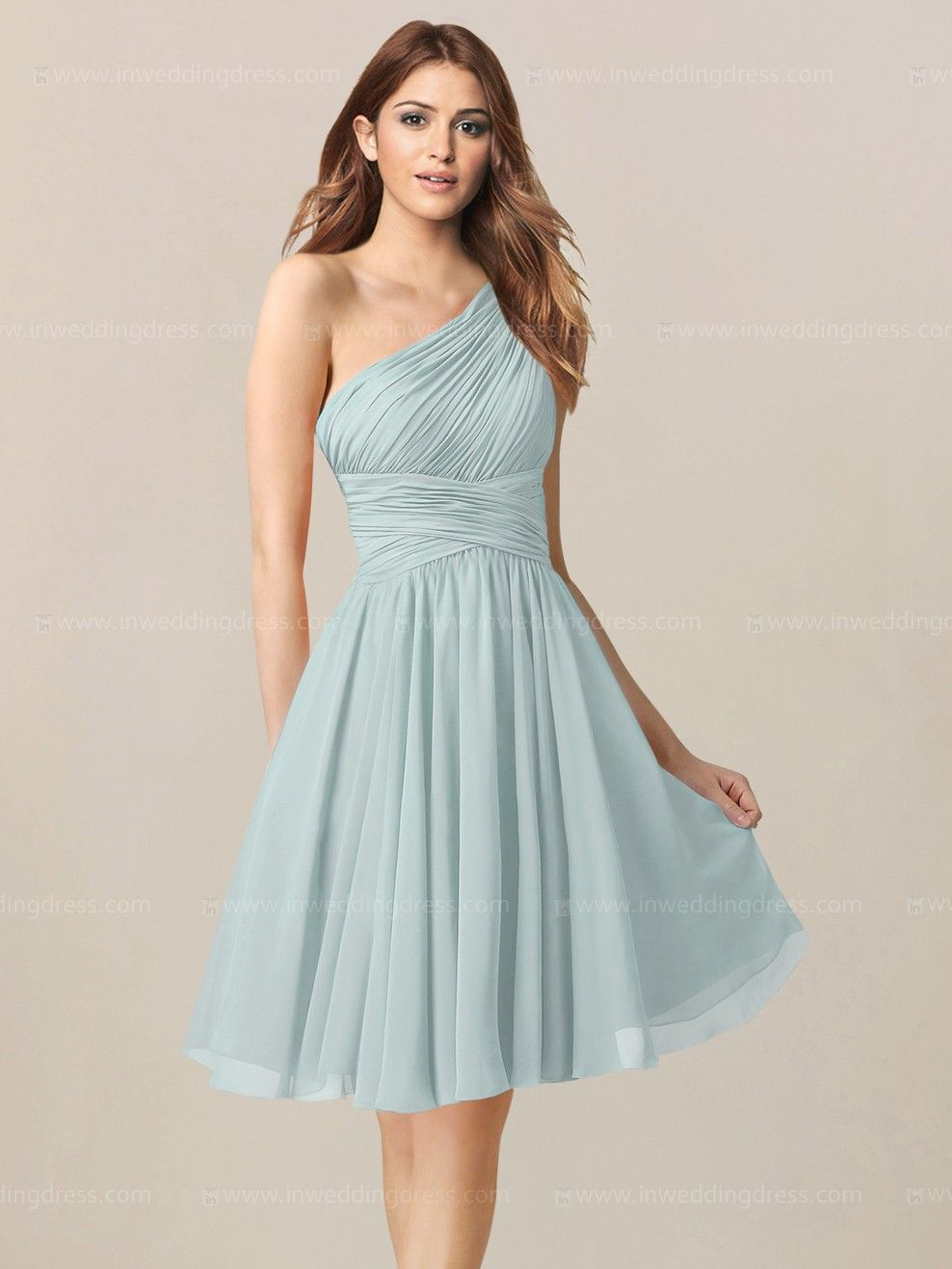 Knee Length Chiffon One-Shoulder Bridesmaid dress BR275 | Pinterest ...