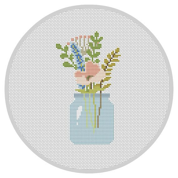 Flowers 4 Counted Cross Stitch Patterns Color Symbols Charts