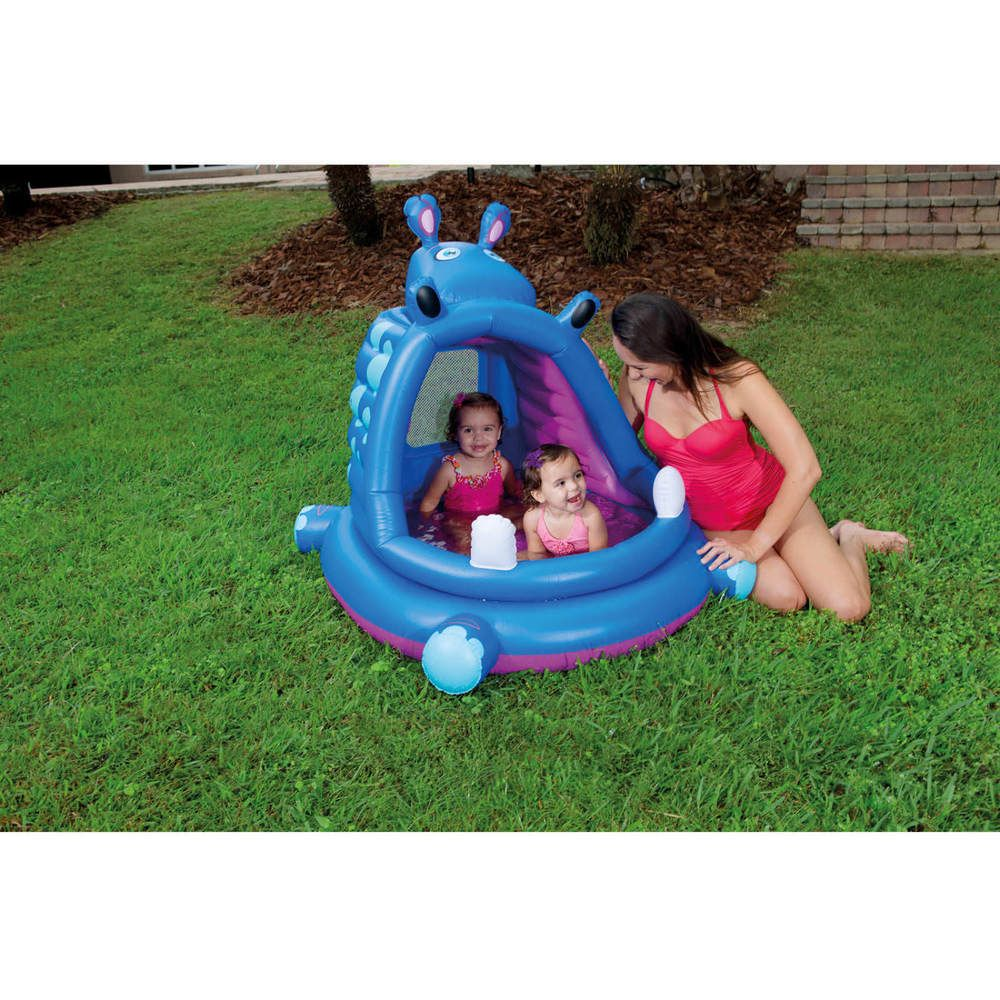 Inflatable Swimming Pool Kiddie Hippo Covered Baby Play Outdoor Home Swim Pools H2ogo Baby Pool Play Pool Inflatable Pool