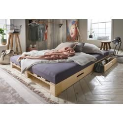 Photo of Pallet bed with drawer, double bed / 2 drawers – lye-colored – 14 x 140 x 200 cm Infanskids