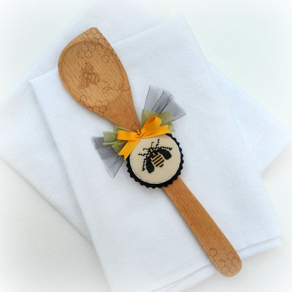 Wooden Spoon Decorative Bee Kitchen Decor By SnowBerryNeedleArts