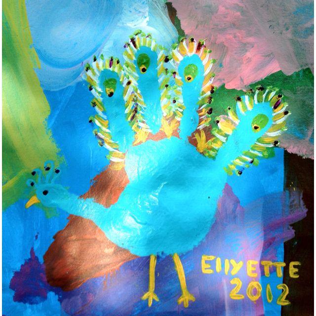 Handprint peacock