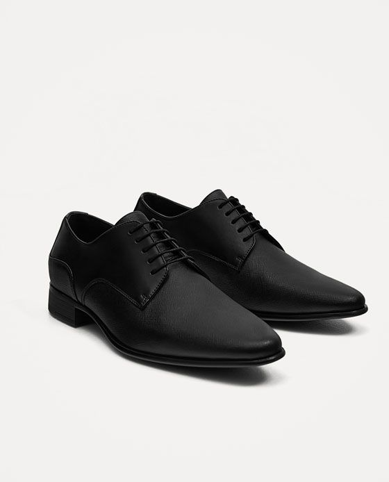 men leather shoes - Zapatos de cordones de Otra Piel para hombre negro negro, color negro, talla 41