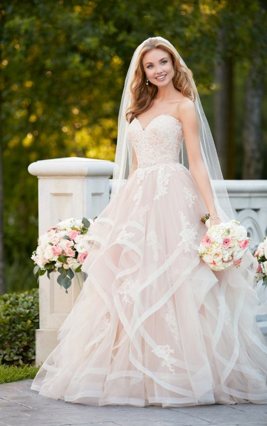 Pink Floral Lace Wedding Dress with Textured Skirt | Our wedding ...