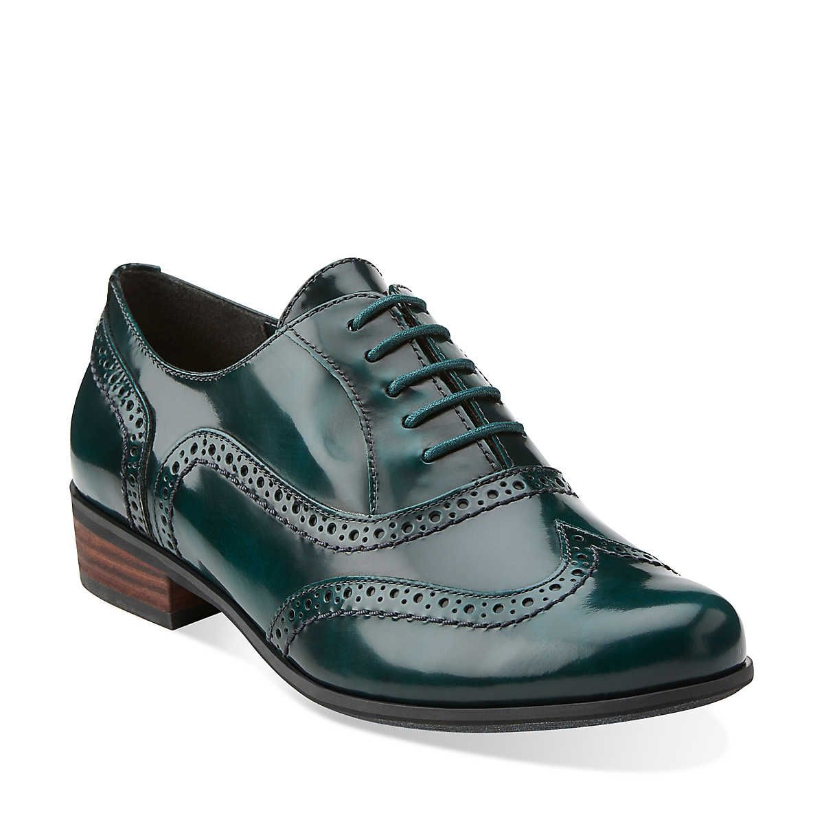 de80ba3e8d Hamble Oak in Dark Green Lea - Womens Shoes from Clarks *green oxfords with  a short heel!*