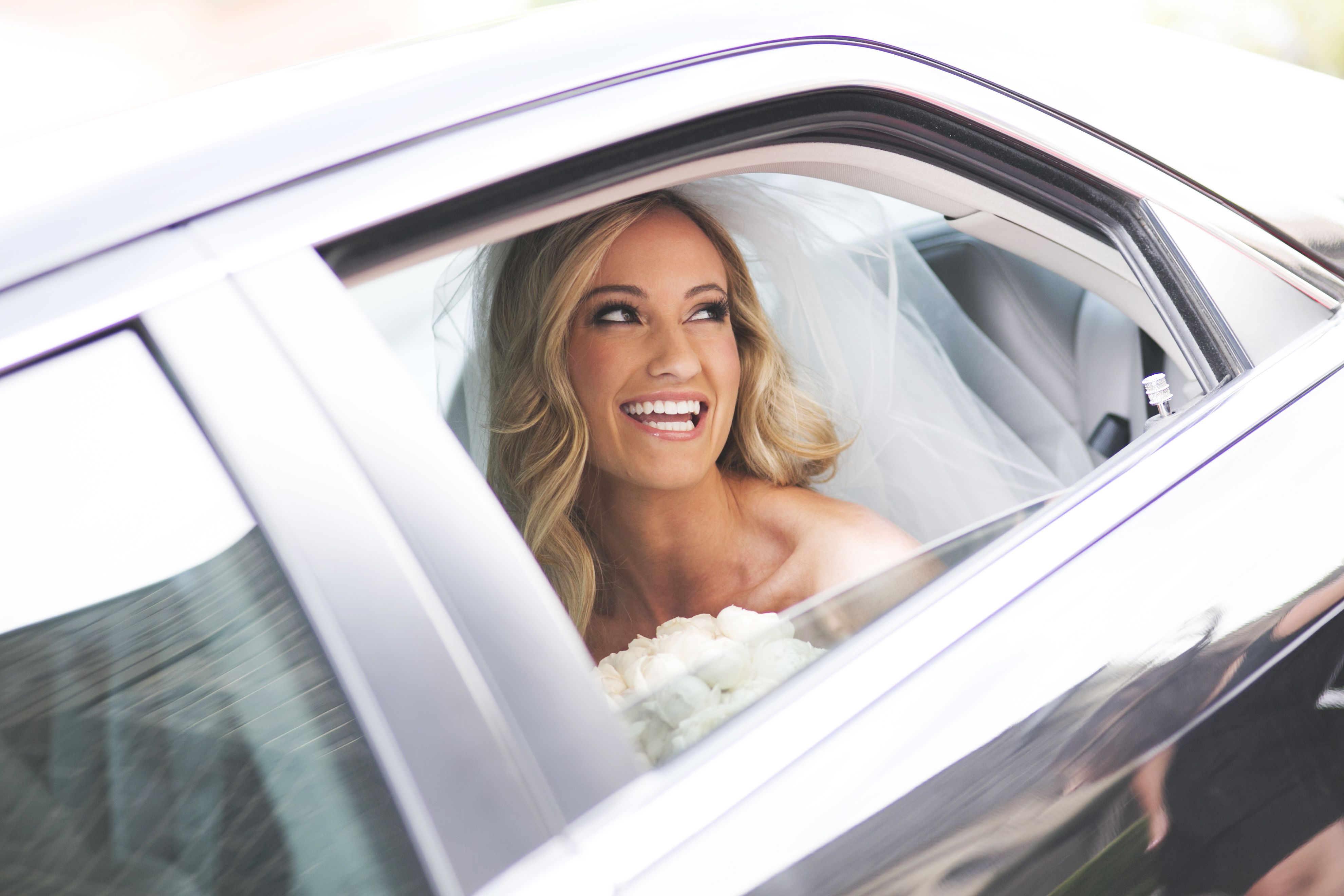 Gorgeous bride on the way to the church,love her hair down | itakeyou.co.uk