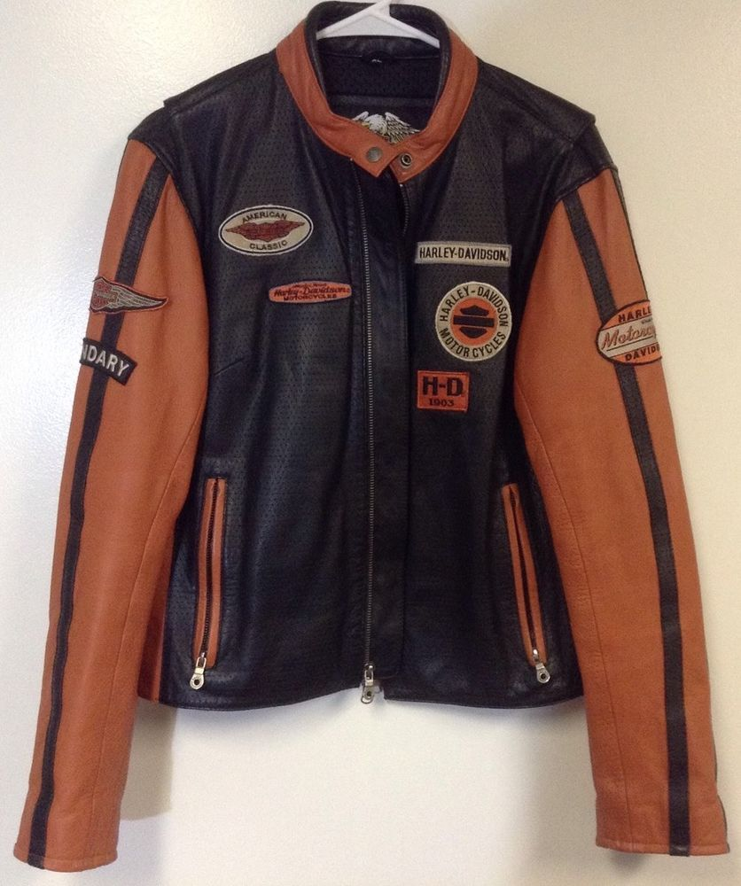 Blackamp; Women's Orange Davidson Leather Jacket Xl Harley Whirlwind W2eEHD9IY