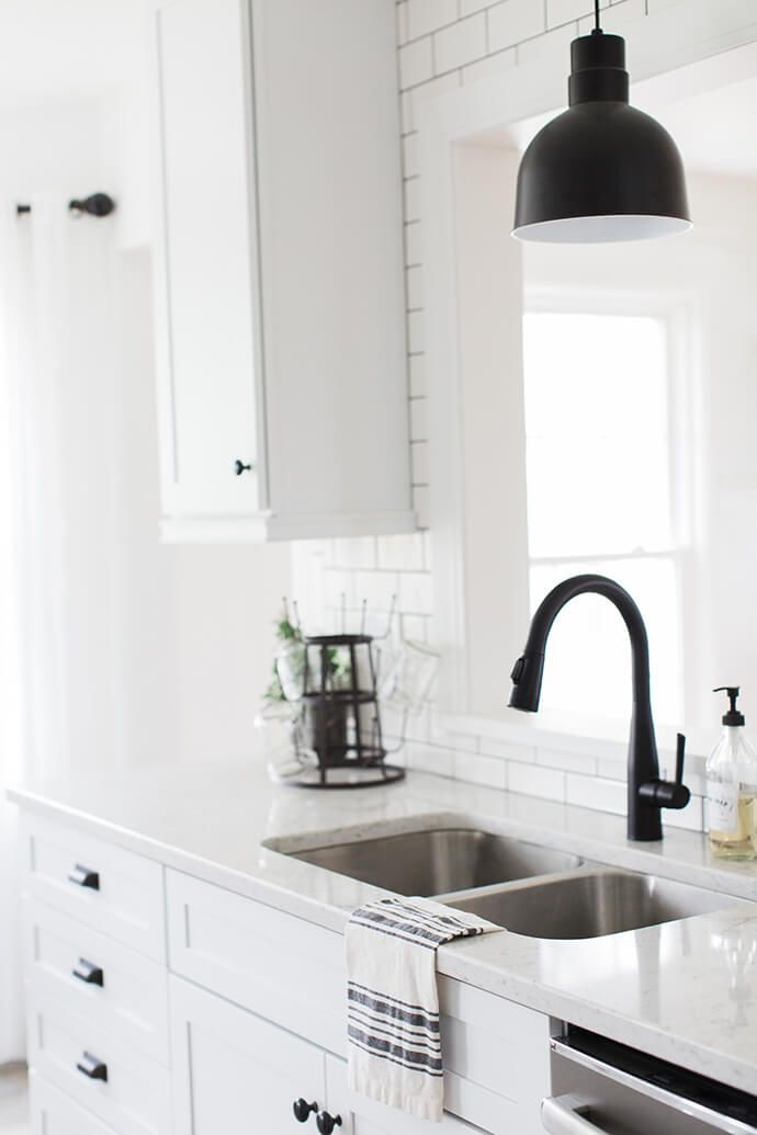 Black Faucet Kitchen Wall Fan Step Inside The Modern Farmhouse Of Liz Fourez K I T C H E N Pendant Light Hardware White Cambria Countertops Cabinets And Subway Tile With Dark Grout Lines