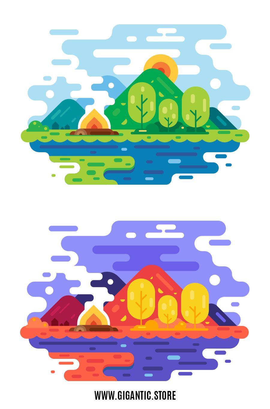 Flat Design Landscape Gigantic Flat Design Illustration And 2d Animation In 2020 Flat Design Illustration Flat Design Illustration Design