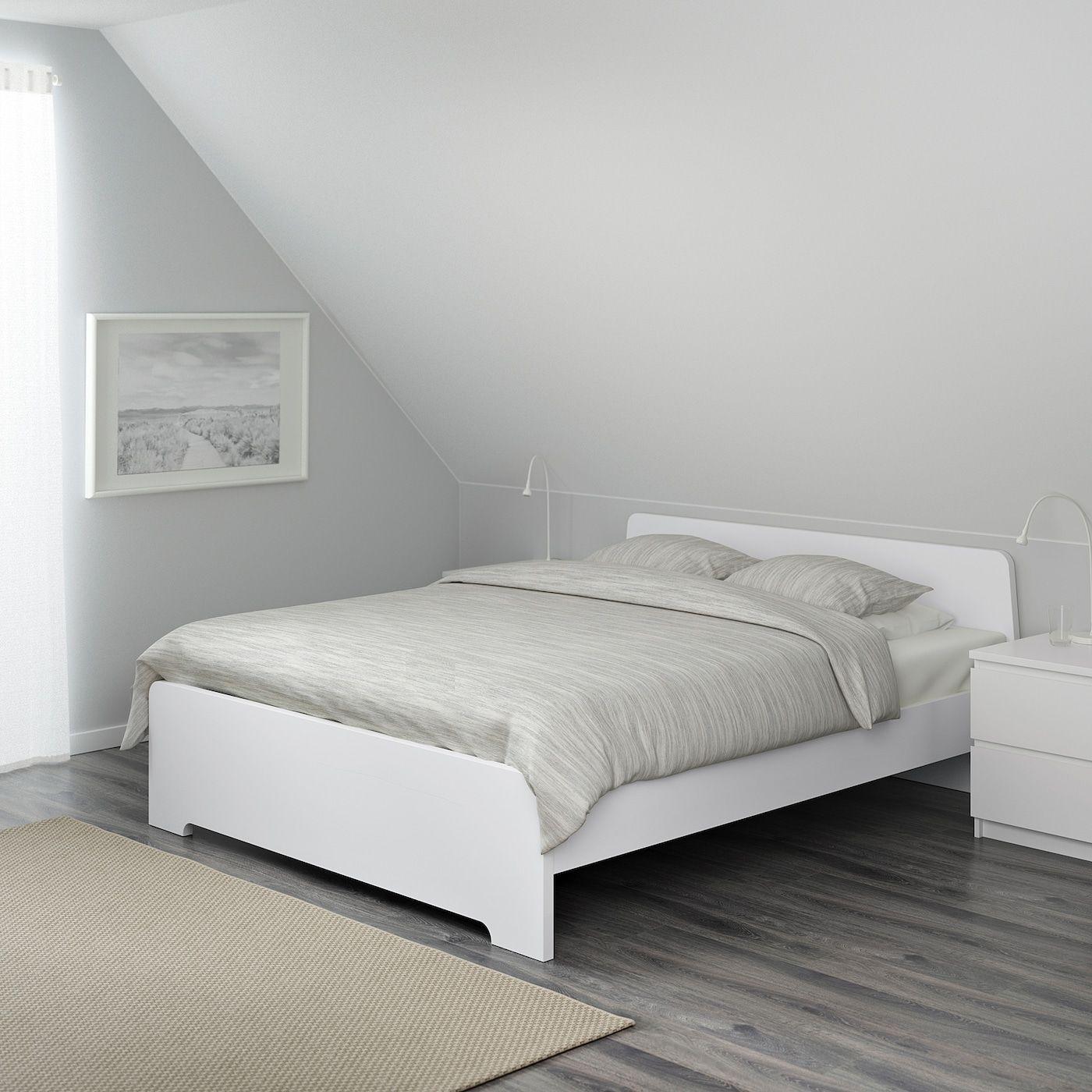 Ikea Askvoll White Luroy Bed Frame In 2020 White Bed Frame Adjustable Beds King Size Bed Frame