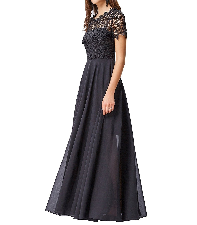 Womenus Lace Bodice Chiffon Evening Maxi Dress with Short Sleeve